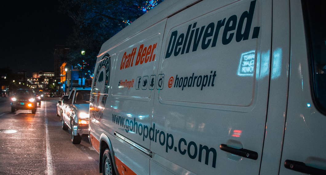 Beer-Chronicle-houston-beer-delivery-service-Hop-Drop-van-at-night