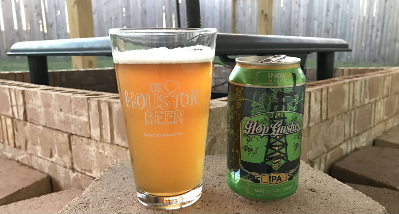 beer-chronicle-houston-craft-beer-review-hop-gusher-beer-in-pint-glass-with-can