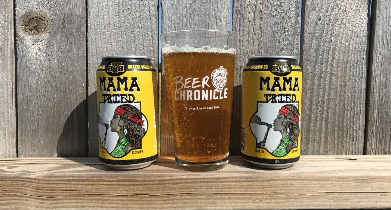 Beer-Chronicle-Houston-Craft-Beer-Review-Mama-Tried-Beer-In-Pint-Glass-With-Cans-On-Left-And-Right