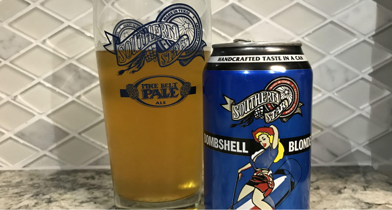 beer-chronicle-houston-craft-beer-review-souther-star-bombshell-blonde-pint-glass-with-beer-next-to-can
