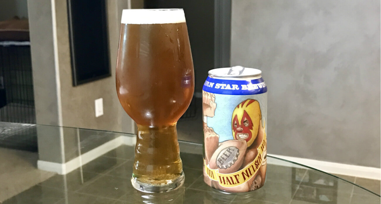 Beer-Chronicle-Houston-Craft-Beer-Review-Southern-Star-Half-Nelson-Full-Glass-Beside-Can