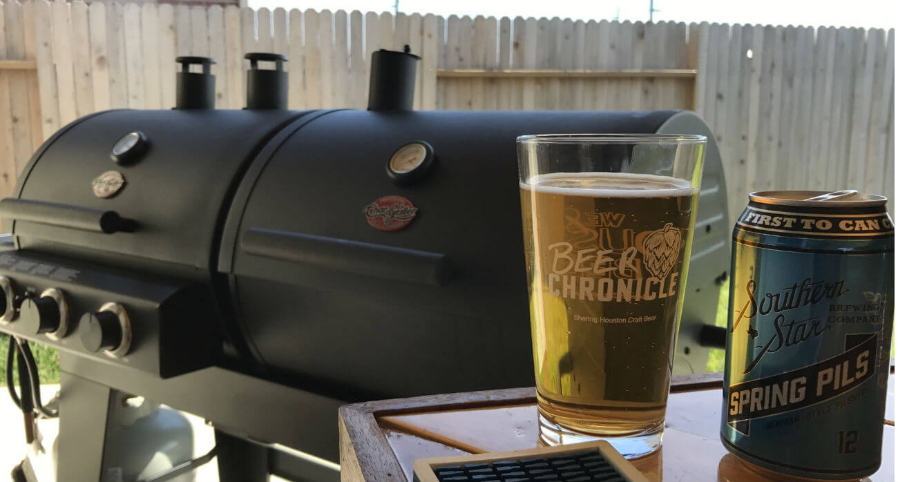 Beer-Chronicle-Houston-Craft-Beer-Review-Spring-Pils-Beer-In-Glass-With-Grill