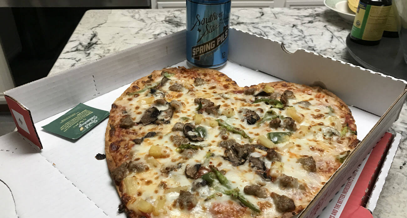 Beer-Chronicle-Houston-Craft-Beer-Review-Spring-Pils-With-Hear-Shaped-Pizza