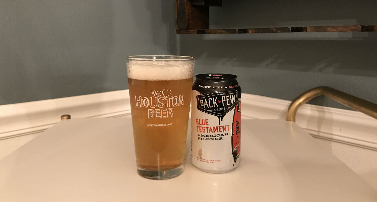 Houston-Beer-Chronicle-Craft-Beer-Review-Blue-Testament-Beer-In-Pint-Glass-Next-To-Can