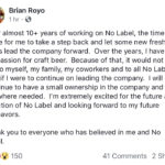 UPDATED 11/21: No Label's Brian Royo Steps Down